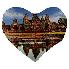 Angkor Wat Large 19  Premium Flano Heart Shape Cushions by trendistuff