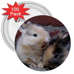 SMALL BABY RABBITS 3  Buttons (100 pack)  by trendistuff