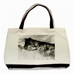 SLEEPY KITTY Basic Tote Bag  by trendistuff