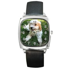 Cute Cavapoo Puppy Square Metal Watches by trendistuff