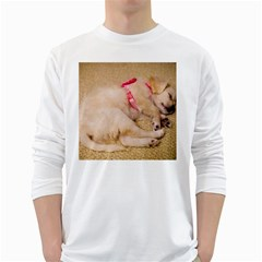 Adorable Sleeping Puppy White Long Sleeve T Shirts by trendistuff