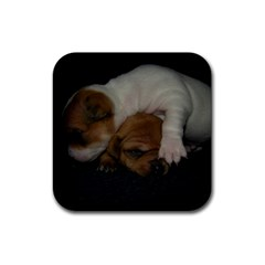 Adorable Baby Puppies Rubber Square Coaster (4 Pack)  by trendistuff