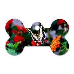 Butterfly Flowers 1 Dog Tag Bone (one Side) by trendistuff