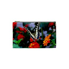 Butterfly Flowers 1 Cosmetic Bag (small)  by trendistuff