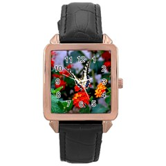 Butterfly Flowers 1 Rose Gold Watches by trendistuff