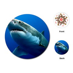 Great White Shark 3 Playing Cards (round)  by trendistuff