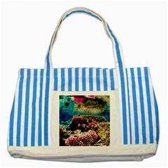 Coral Reefs 1 Striped Blue Tote Bag  by trendistuff