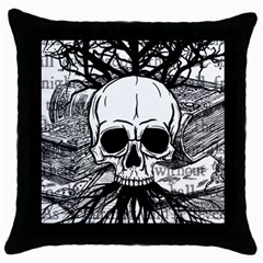 Skull & Books Throw Pillow Cases (black) by waywardmuse