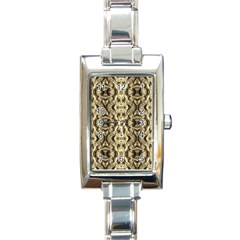 Gold Fabric Pattern Design Rectangle Italian Charm Watches by Costasonlineshop
