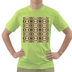 Gold Fabric Pattern Design Green T Shirt by Costasonlineshop
