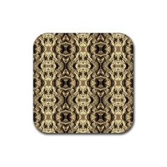 Gold Fabric Pattern Design Rubber Square Coaster (4 Pack)  by Costasonlineshop