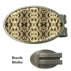 Gold Fabric Pattern Design Money Clips (oval)  by Costasonlineshop