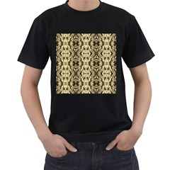 Gold Fabric Pattern Design Men s T Shirt (black) (two Sided) by Costasonlineshop