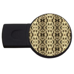 Gold Fabric Pattern Design Usb Flash Drive Round (4 Gb)  by Costasonlineshop