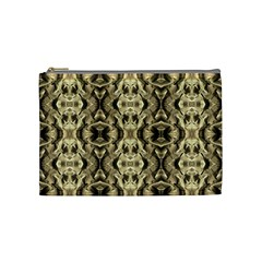 Gold Fabric Pattern Design Cosmetic Bag (Medium)  by Costasonlineshop