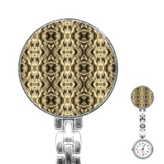 Gold Fabric Pattern Design Stainless Steel Nurses Watches by Costasonlineshop