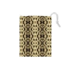 Gold Fabric Pattern Design Drawstring Pouches (small)  by Costasonlineshop