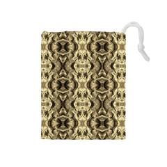 Gold Fabric Pattern Design Drawstring Pouches (medium)  by Costasonlineshop
