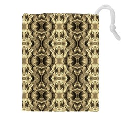 Gold Fabric Pattern Design Drawstring Pouches (xxl) by Costasonlineshop