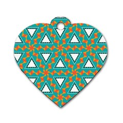 Triangles And Other Shapes Pattern			dog Tag Heart (one Side) by LalyLauraFLM