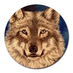 Wolf Round Mousepads by ArtByThree