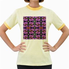 Purple Green Flowers With Green Women s Fitted Ringer T Shirts by Costasonlineshop