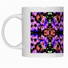 Purple Green Flowers With Green White Mugs by Costasonlineshop