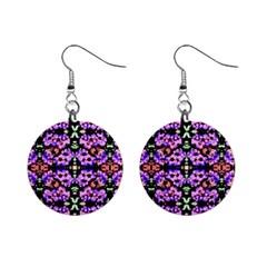 Purple Green Flowers With Green Mini Button Earrings by Costasonlineshop