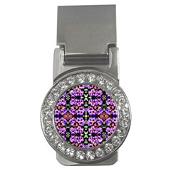 Purple Green Flowers With Green Money Clips (CZ)  by Costasonlineshop