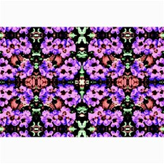 Purple Green Flowers With Green Collage 12  X 18  by Costasonlineshop