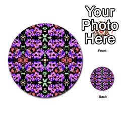 Purple Green Flowers With Green Multi Purpose Cards (round)  by Costasonlineshop