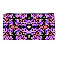 Purple Green Flowers With Green Pencil Cases by Costasonlineshop