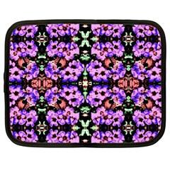 Purple Green Flowers With Green Netbook Case (xl)  by Costasonlineshop