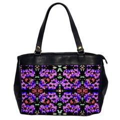 Purple Green Flowers With Green Office Handbags by Costasonlineshop