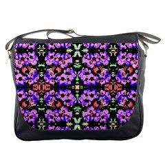 Purple Green Flowers With Green Messenger Bags by Costasonlineshop