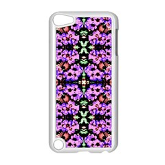 Purple Green Flowers With Green Apple Ipod Touch 5 Case (white) by Costasonlineshop