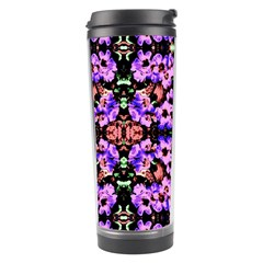 Purple Green Flowers With Green Travel Tumblers by Costasonlineshop