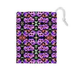 Purple Green Flowers With Green Drawstring Pouches (large)  by Costasonlineshop