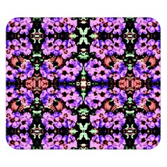 Purple Green Flowers With Green Double Sided Flano Blanket (small)  by Costasonlineshop