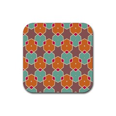 Stars And Honeycombs Patternrubber Square Coaster (4 Pack by LalyLauraFLM