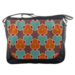 Stars And Honeycombs Pattern			messenger Bag by LalyLauraFLM