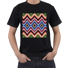Colorful Diamond Crochet Men s T-Shirt (Black) (Two Sided) by Costasonlineshop