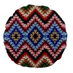 Colorful Diamond Crochet Large 18  Premium Flano Round Cushions by Costasonlineshop