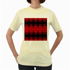 Red Black Gothic Pattern Women s Yellow T Shirt by Costasonlineshop