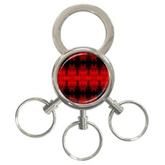 Red Black Gothic Pattern 3 Ring Key Chains by Costasonlineshop