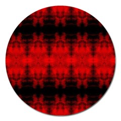 Red Black Gothic Pattern Magnet 5  (round) by Costasonlineshop