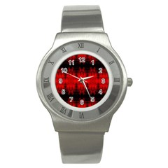 Red Black Gothic Pattern Stainless Steel Watches by Costasonlineshop