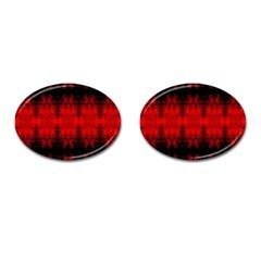 Red Black Gothic Pattern Cufflinks (Oval) by Costasonlineshop