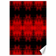 Red Black Gothic Pattern Canvas 12  X 18   by Costasonlineshop