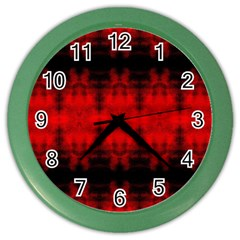 Red Black Gothic Pattern Color Wall Clocks by Costasonlineshop